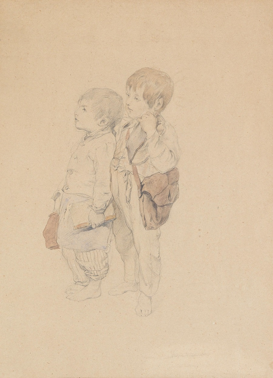 Two boys with satchels