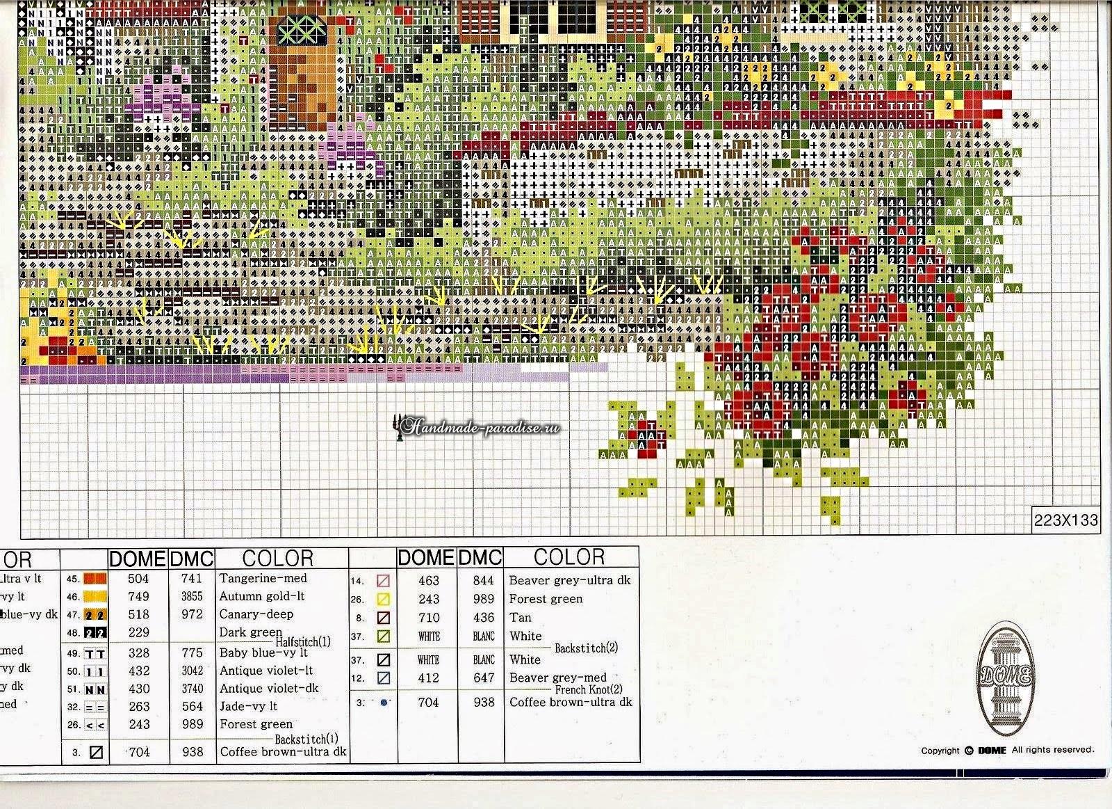 Схема вышивки - пейзаж
