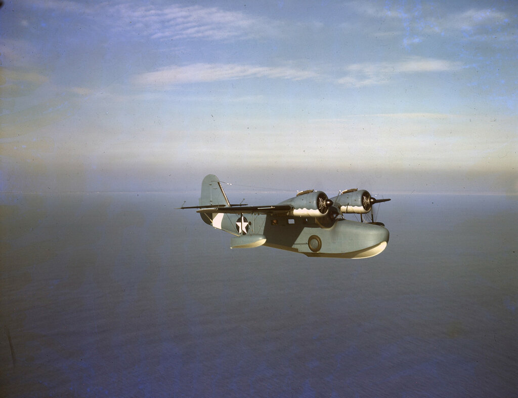 U. S. Coast Guard Grumman JRF-2 Goose in flight, ca. 1943.
