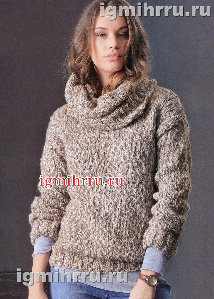 Бежевый пуловер со съемным воротником. Вязание спицами