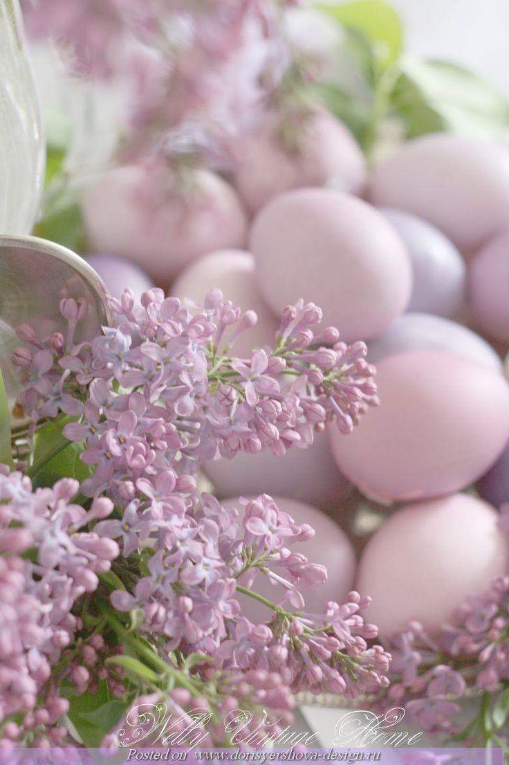 винтаж, винтажный декор для дома, пасхальный декор, сирень, декор в сиреневых тонах, крашенки, крашеные яйца
