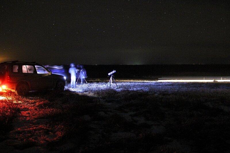 Автомобиль, телескоп и ночное небо 23 ноября 2014 г. Астрономический выезд в Шалегово (Оричи, Кировская область)