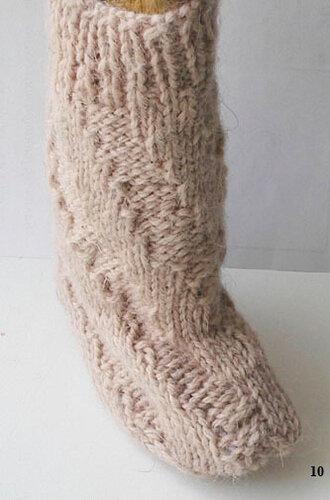 Как связать спицами спиральные носки