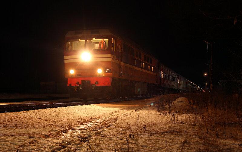 ТЭП70-0065 с поездом Смоленск-СПб на станции Ржев-Белорусский