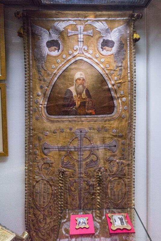 Хоругвь двусторонняя, с изображением Образа Казанской Божией Матери и Святителя Ермогена