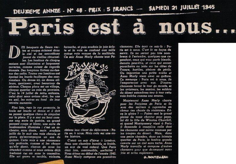 """Статья """"Париж наш"""" Ж. Бутелло в газете """"Перекрёсток"""" 21 июля 1945 года"""
