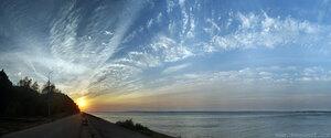 Закат на набережной панорама, свет, город