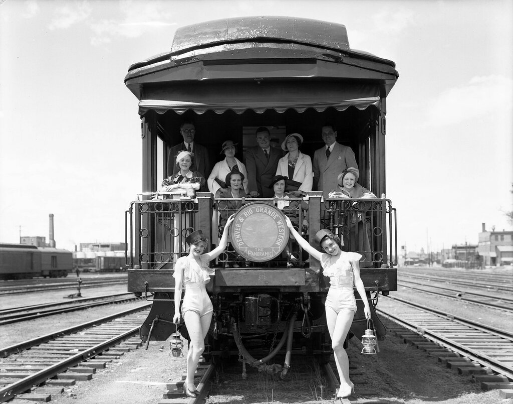 """D&RGW open platform observation """"Glenwood Canon"""" at Burnham Yards for """"Panoramic"""" publicity photos. 1927"""