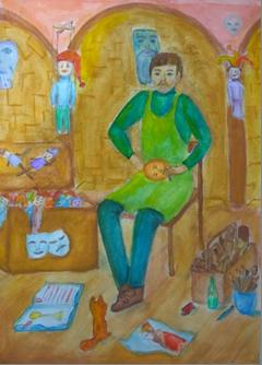 C:\Users\Любовь\Desktop\Лучшие работы моих учеников, 2018\Пантелеева Наталья, 11 лет. В гостях у кукольника. Гуашь, 420х297.jpg