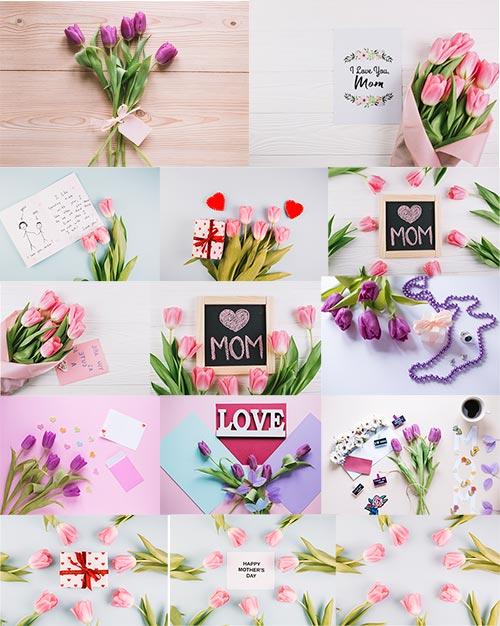 Фоны с тюльпанами для поздравлений / Backgrounds with tulips for congratulations