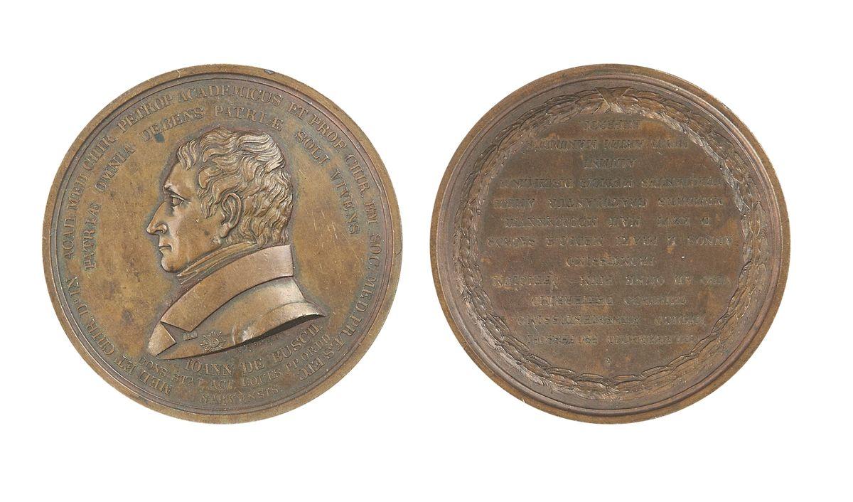 Настольная медаль «В память 50-летия службы профессора медицины Иоанна де Буша. 1838 г.»