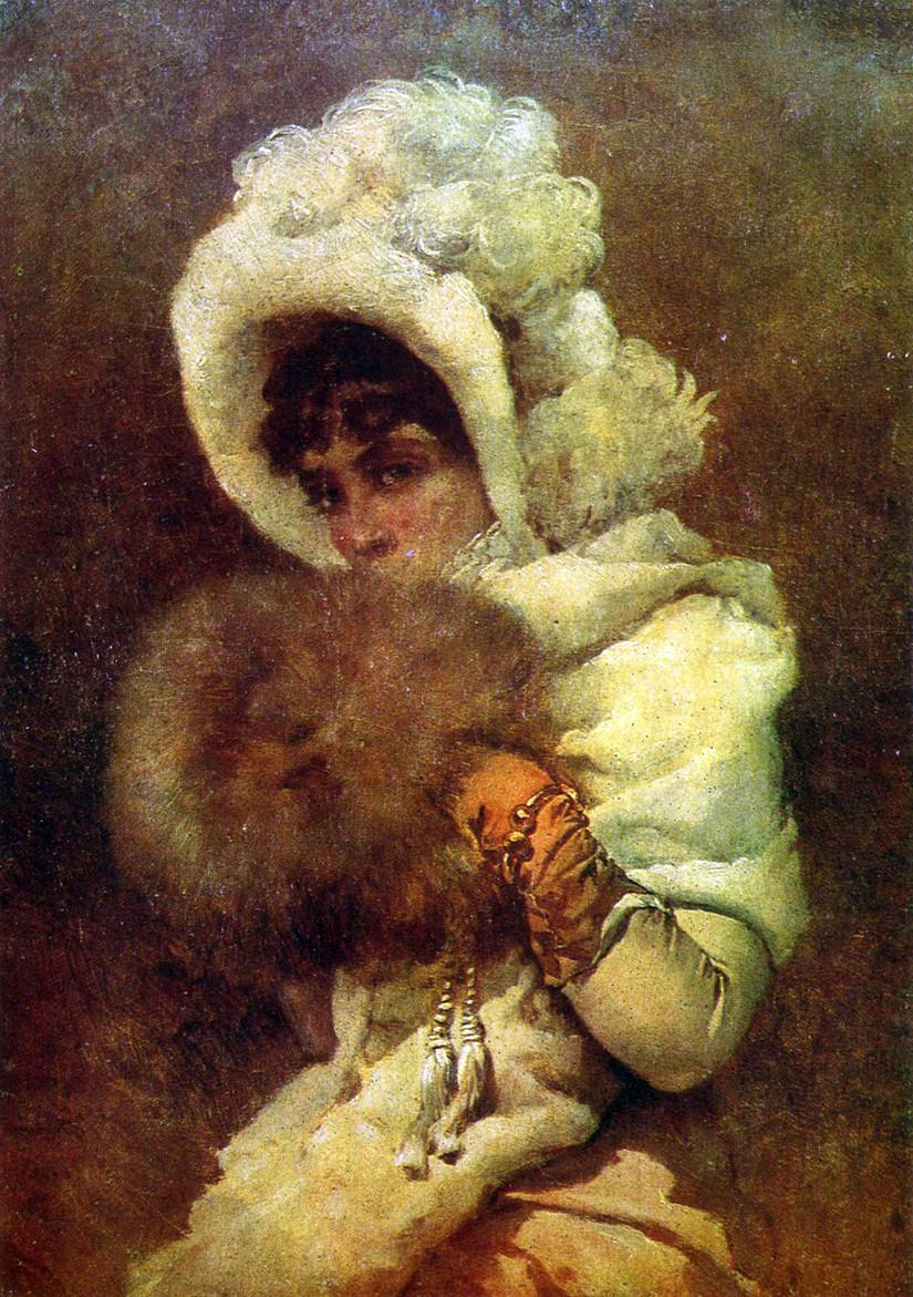 Девушка с муфтой. 1884 Херсонский областной художественный музей им. А.А. Шовкуненко, Украина.