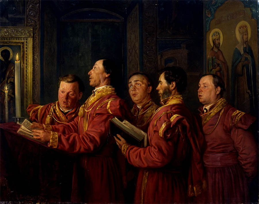 Певчие на клиросе. 1870 Севастопольский художественный музей им. М.П. Крошицкого.