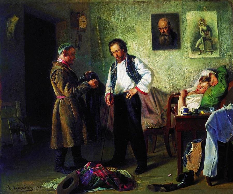 Художник, продающий старые вещи татарину (Мастерская художника). 1865 Государственная Третьяковская галерея, Москва.