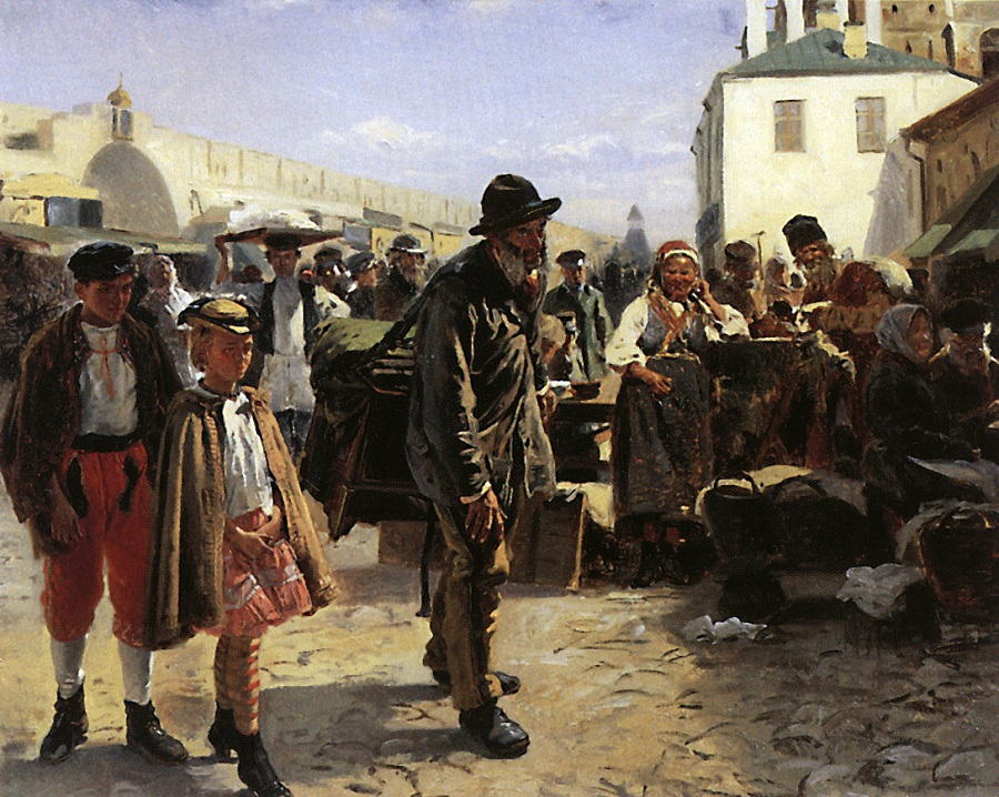 Этюд для картины Толкучий рынок в Москве  Государственная Третьяковская галерея, Москва.