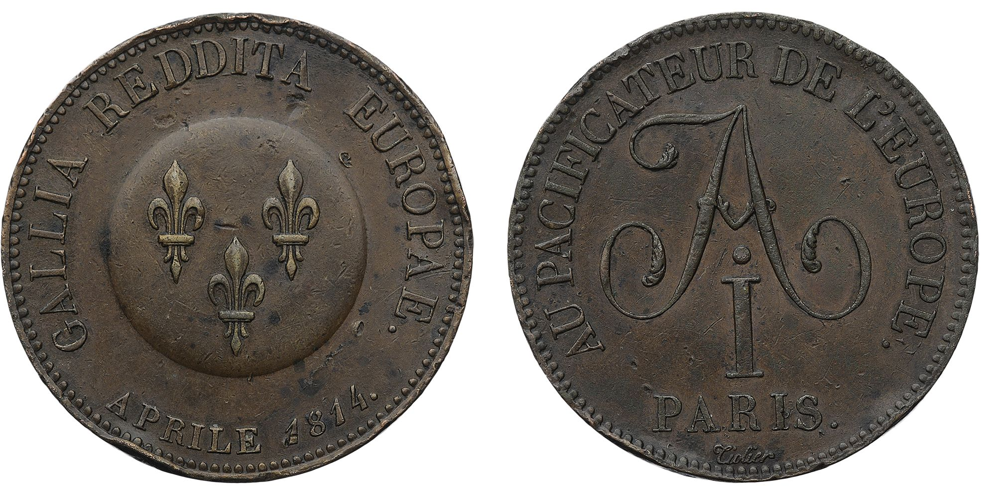 Настольная медаль «В честь Императора Александра I. Апрель 1814 г.»