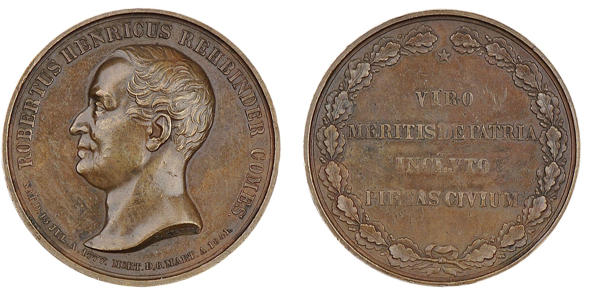 Настольная медаль «В память службы графа Роберта Генриха Ребиндера. 1841 г.»