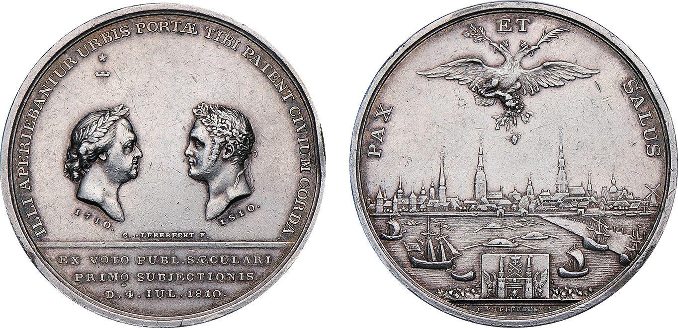 Настольная медаль «В память 100-летия присоединения Риги к России. 1810 г.»