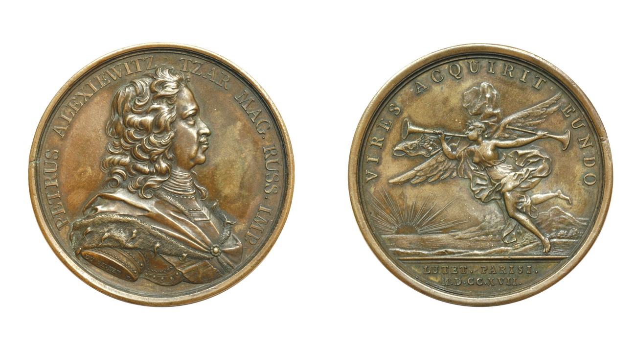 Настольная медаль «В память посещения Петром I монетного двора в Париже. 1717 г.»