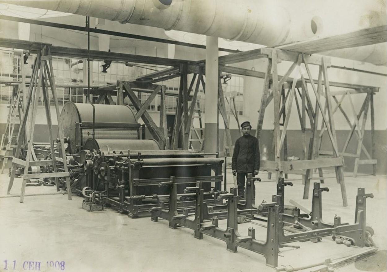 11 сентября 1908. Монтаж каландровой машины