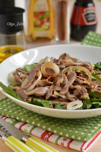 Острый салат из желудочков