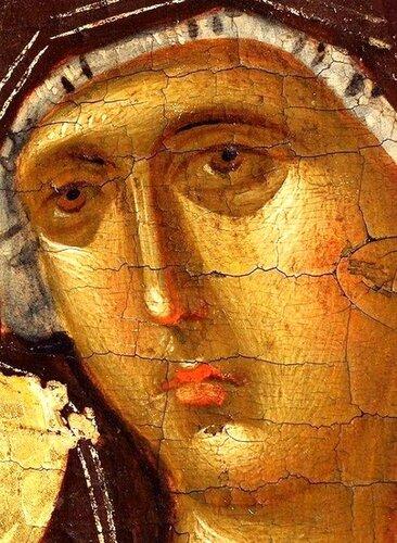 """Лик Пресвятой Богородицы. Фрагмент иконы """"Благовещение Пресвятой Богородицы"""". Византия, XIV век. Галерея икон в Охриде, Македония."""