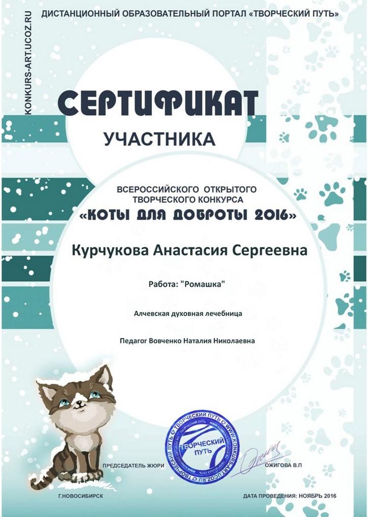 Курчуковой Анастасии –  Сертификаты участника!