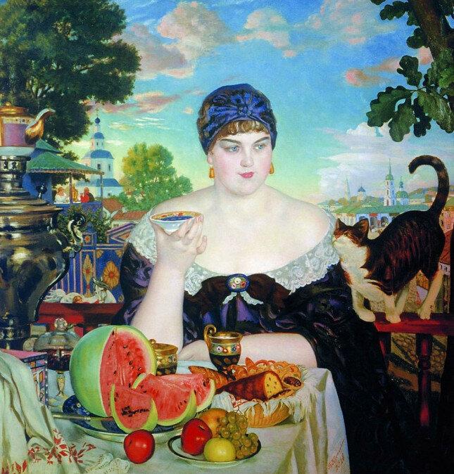 Б.М. Кустодиев Купчиха за чаем, 1918 г. Галина Владимировна Адеркас