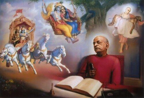Шрила Прабхупада за книгой Бхагавад-гита как она есть