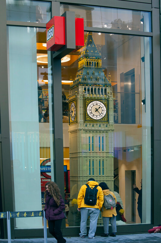Big Ben built from LEGO bricks, displayed in the world's largest LEGO store