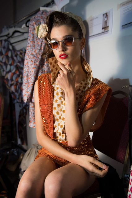 A model backstage ahead of the Mrs. Keepa presentation during Fashion Forward Spring/Summer 2017 at