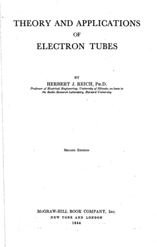 Theory and Applications of Electron tubes - Herbert Reich - Book Cover