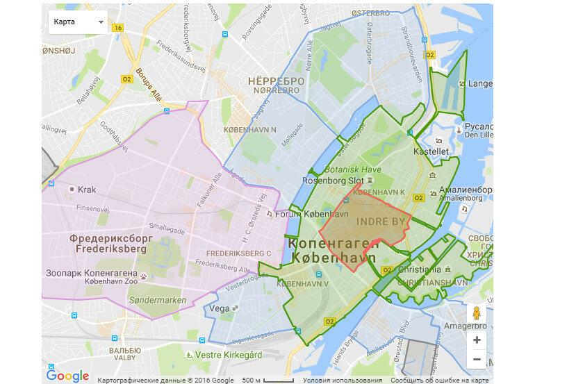 Карта парковочных зон в Копенгагене в 2020 году