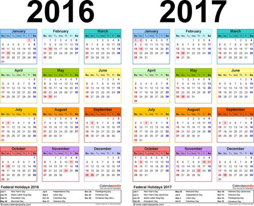 2016-2017 календарь на английском языке