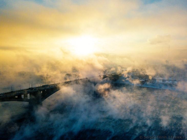 Зимний туман над Енисеем (22 фото)