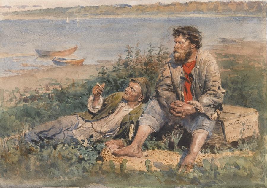 РЫБАКИ  НА ВОЛГЕ, 1896.