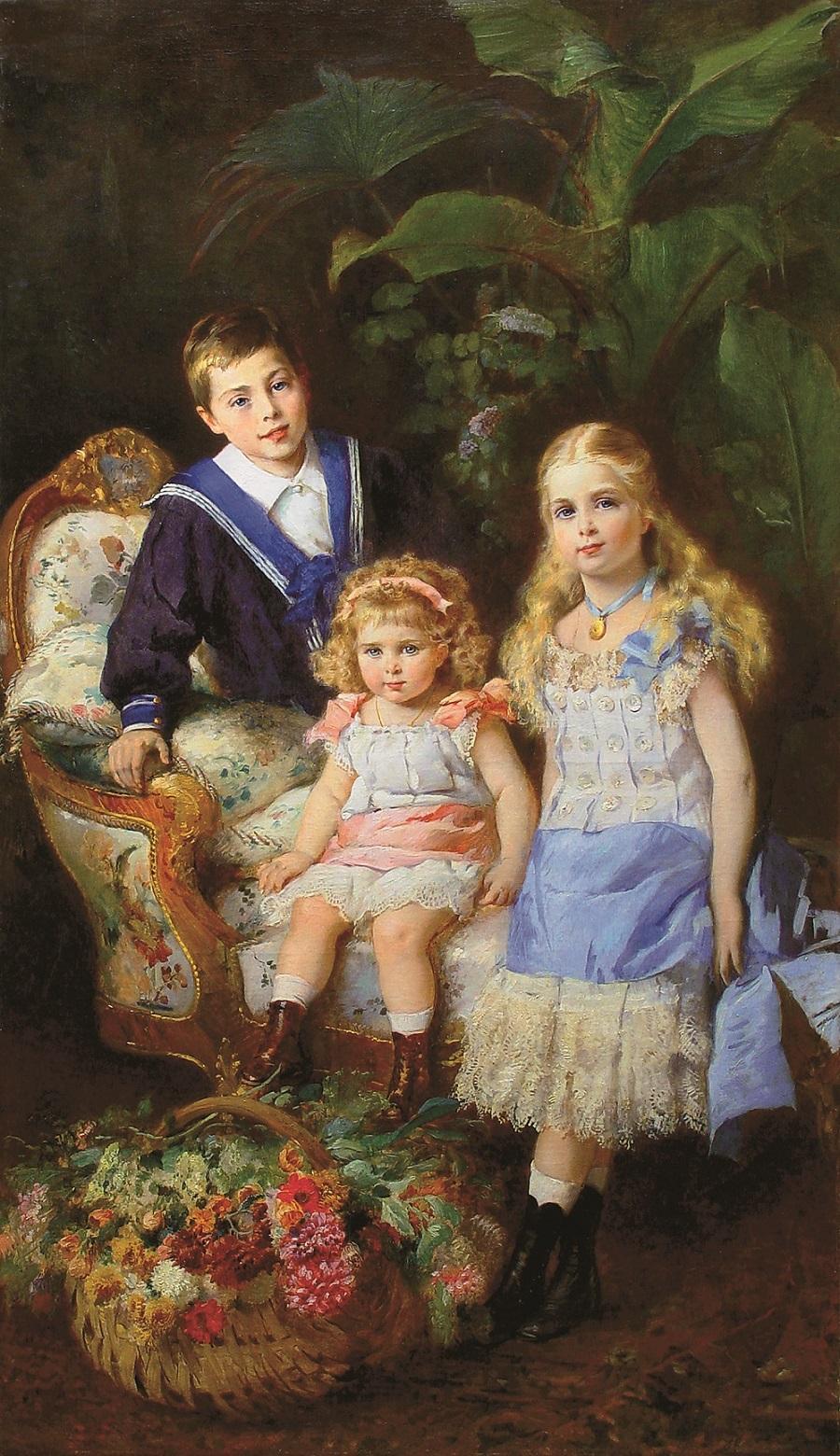 Дети императора Александра II и светлейшей княгини Юрьевской – Георгий, Екатерина, Ольга.