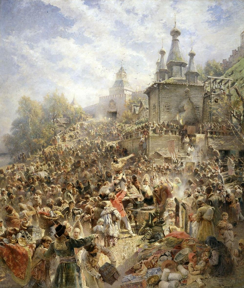 Минин на площади Нижнего Новгорода, призывающий народ к пожертвованиям. 1890-е  Государственный Русский музей, С.-Петербург.