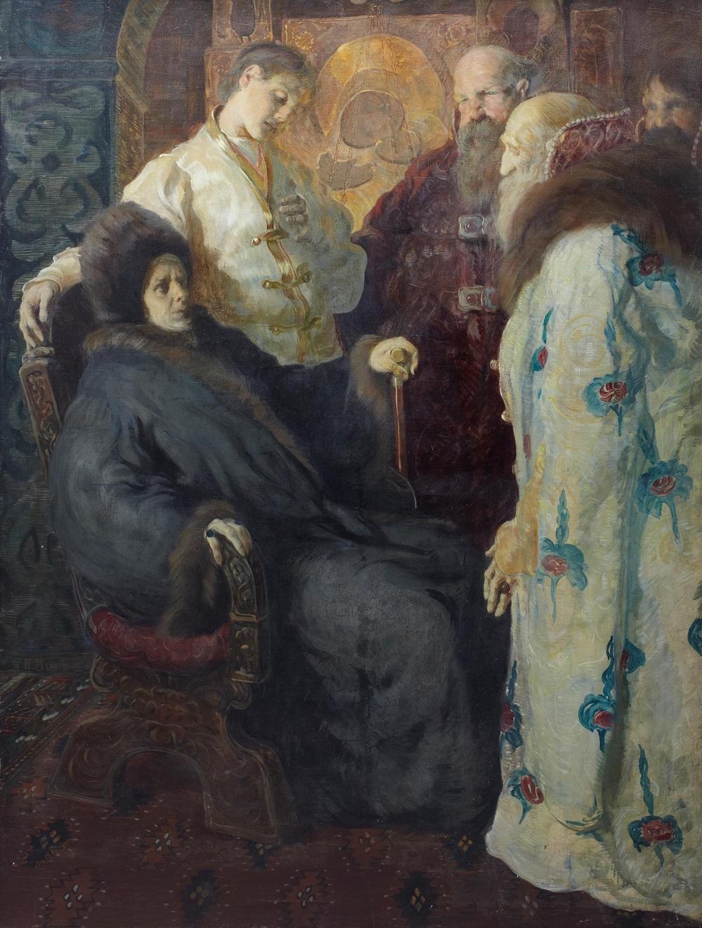 Послы земского собора пытаются убедить монахиню Марфу, что ее сын Михаил Федорович Романов должен принять корону. Сцена состоялась в Ипатьевском монастыре 24 марта 1613 года