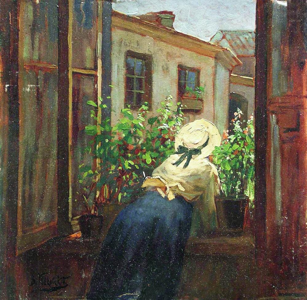 У раскрытого окна. Конец 1910-х.