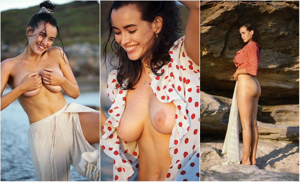 Сара Стефенс топлес на пляже