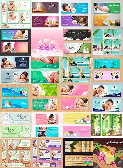 Баннеры с фото для спа салонов в векторе / Banners with photo for spa salons in vector