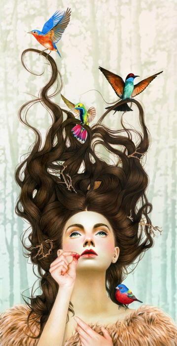 3. Художница уделяет огромное внимание деталям, особенно это относится к женским портретам. Она нере
