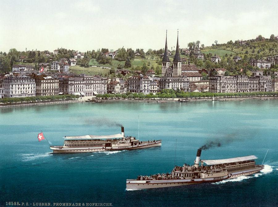 Великолепие Швейцарии в цветных открытках 1890 года (24 фото)