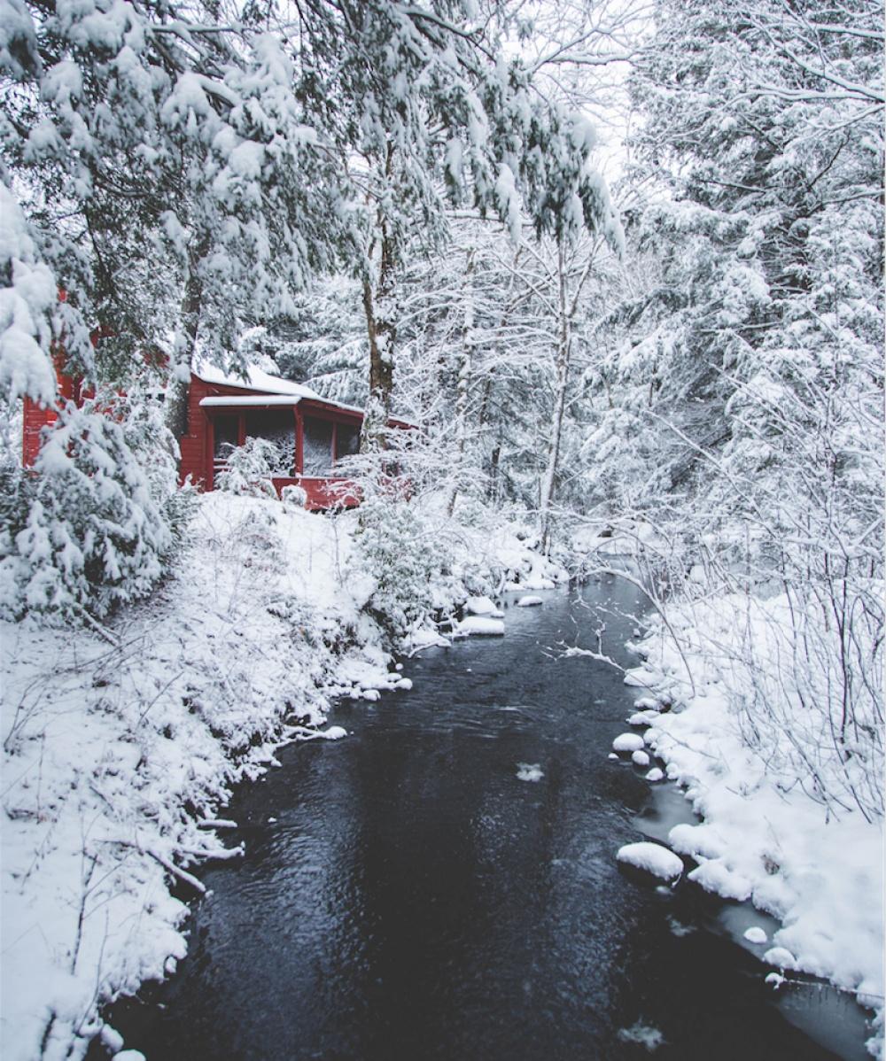 © Kyle Finn Dempsey/REX/Shutterstock  Домик взимнем лесу, штат Массачусетс, США.