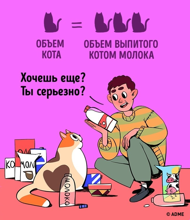 Кот может выпить любое количество молока, даже если его объем превышает объемы кота внесколько раз.
