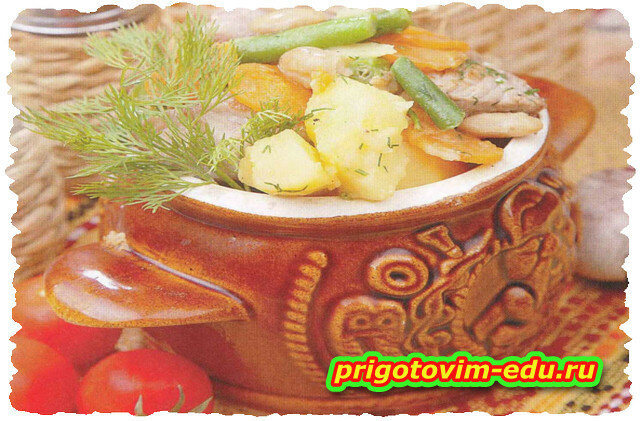 Горшочек с мясом и фасолью