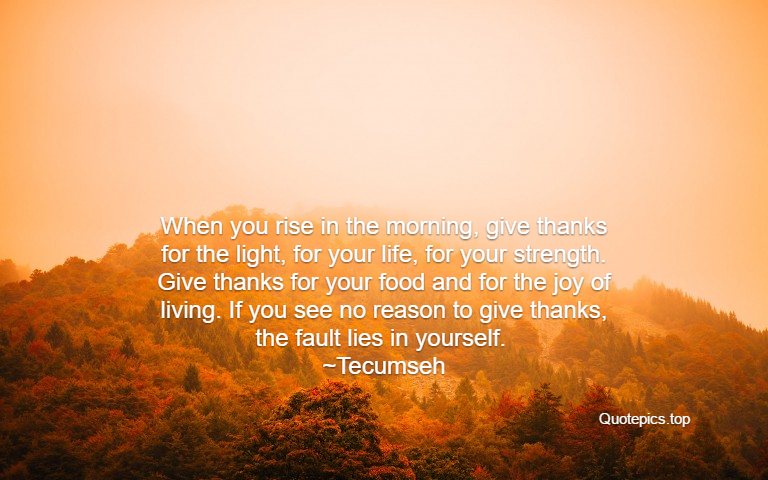 When you rise in the morning, give thanks for the light, for your life, for your strength. Give thanks for your food and for the joy of living. If you see no reason to give thanks, the fault lies in yourself. ~Tecumseh
