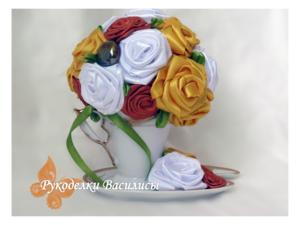 творчество, сувениры, ручная работа, подарки, праздник, оформление подарка, оригинальные подарки, интерьерная композиция, handwork, handmade, чайная пара, цветы в чашке, розы из атласных лент