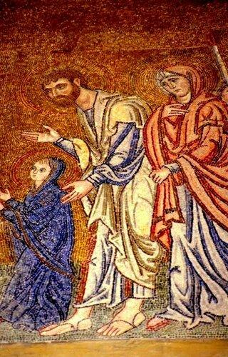 ВВЕДЕНИЕ ВО ХРАМ ПРЕСВЯТОЙ БОГОРОДИЦЫ. Мозаика монастыря Дафни, Греция. Конец XI века.